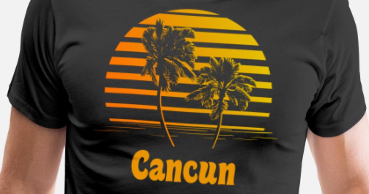 a2c4c2127ecbe7 Cancun Mexico Sunset Palm Trees Men s Premium T-Shirt