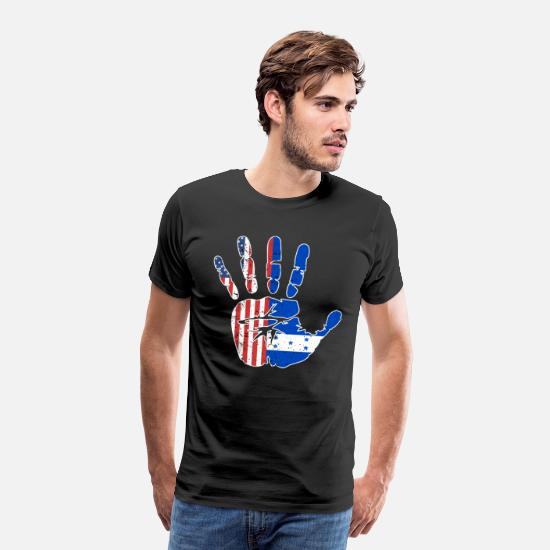 Heritage T-Shirts - USA Honduras Handprint & Flag | Proud Honduran - Men's Premium T-Shirt black