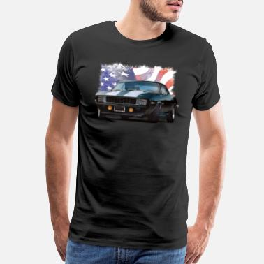 Muscle Car American Flag with Camaro - Men's Premium T-Shirt