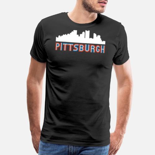 Red White Blue Pittsburgh Pennsylvania Skyline Mens Premium T Shirt