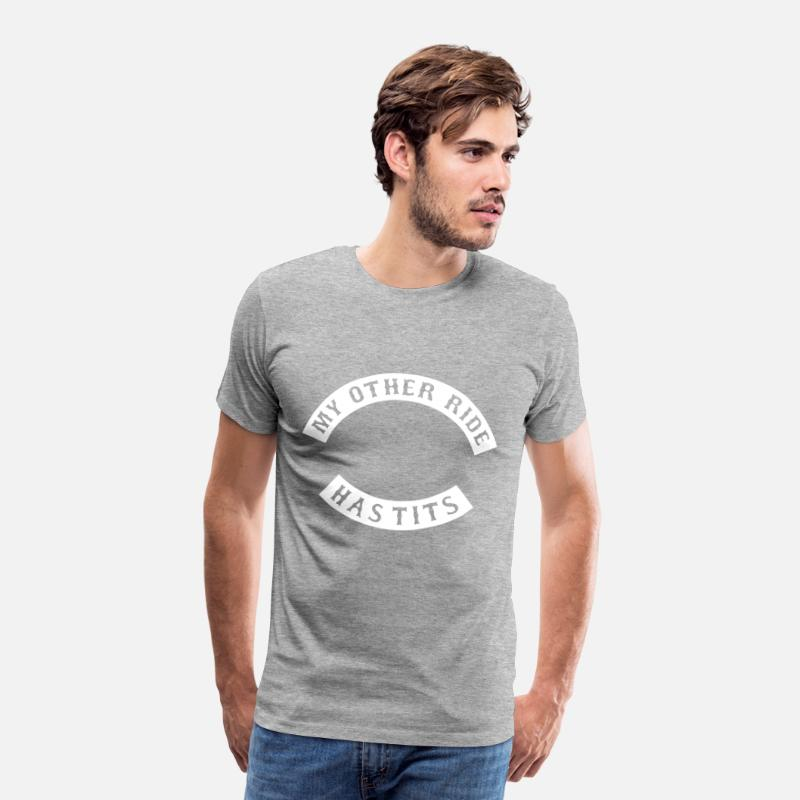 Funny Rude Biker Patch My Other Ride Has-Tits Motorcycle Mens T-Shirt Sm 3XL