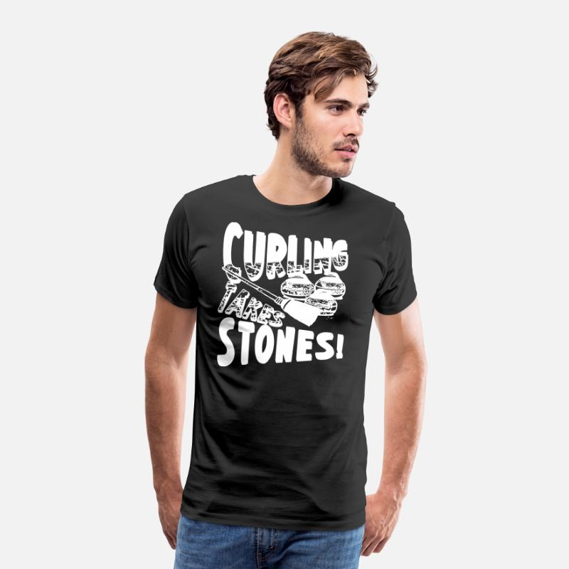 Curling T-Shirts - Curling Takes Stones T Shirt - Men's Premium T-Shirt black