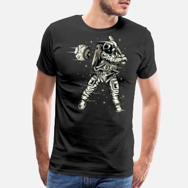 Astronaut Astronaut. Astronaut playing Baseball in the space - Men's Premium T-Shirt