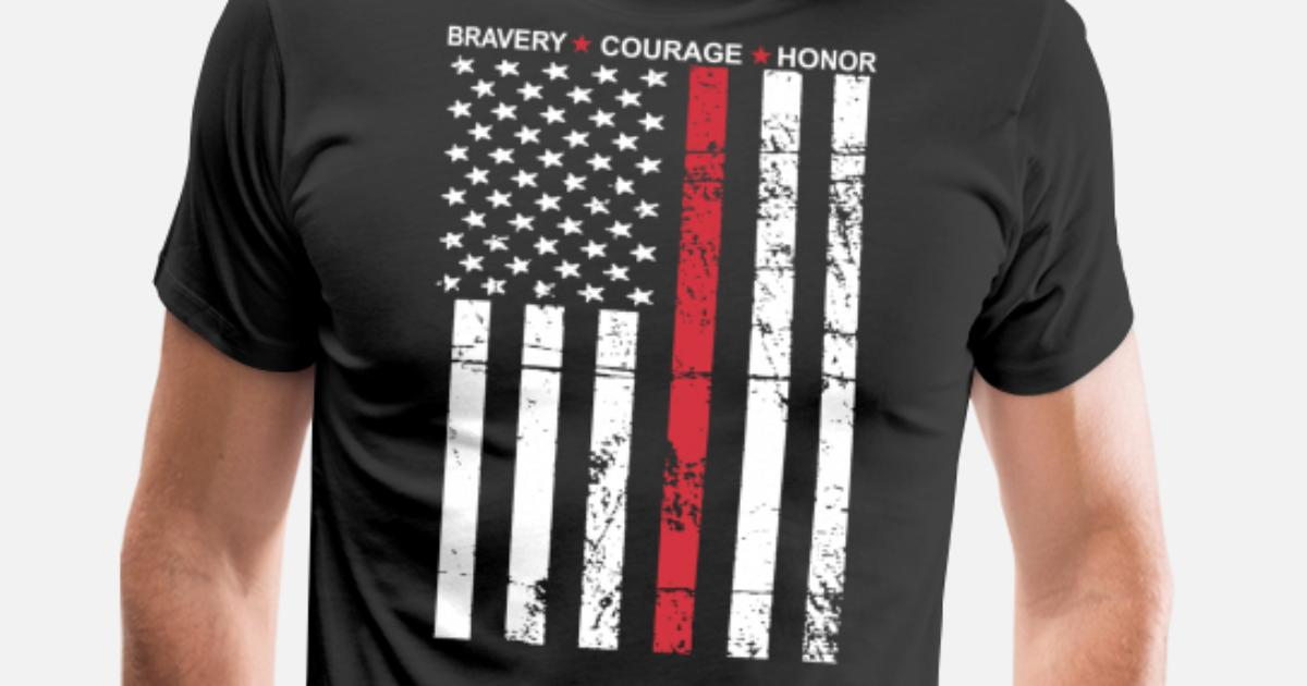 Thin Red Line Flag Firefighter Fire Department Tee Men S Premium T