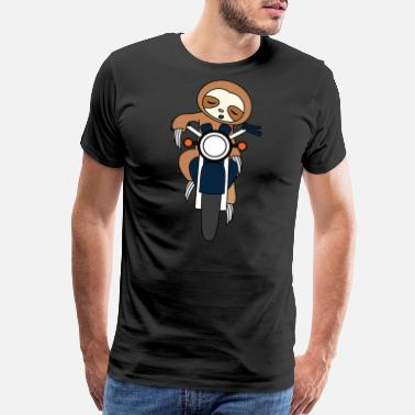 Armadillo Sloth Riding Motorcycle for street poopers out - Men's Premium T-Shirt