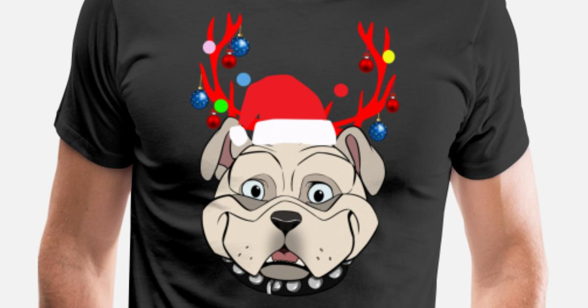 755a52af1 Funny Bulldogs with Antlers Christmas XMAS print Men's Premium T-Shirt |  Spreadshirt