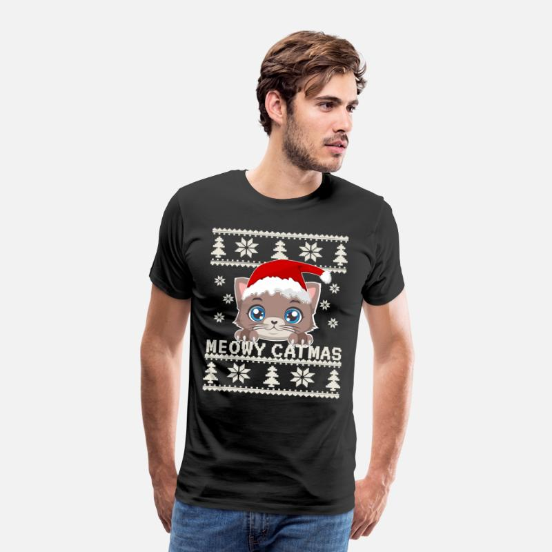 Christmas Sweaters Cute.Meowy Catmas Ugly Christmas Sweater Cute Cat Shirt Men S Premium T Shirt Black