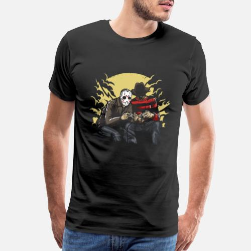 Freddy Krueger Vs Jason On Game Console Mens Premium T Shirt