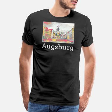 Augsburg Augsburg City Skyline Sights Silhouette Landmark - Men's Premium T-Shirt
