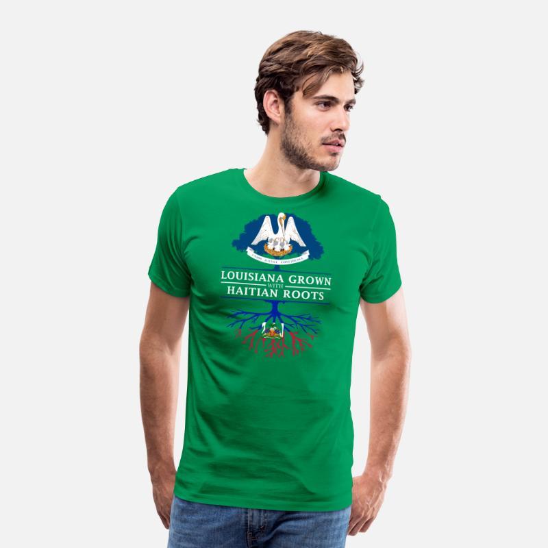 Louisiana Grown with Haitian Roots Men's Premium T-Shirt - kelly green