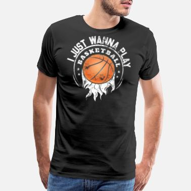 I Love Basketball I Just Wanna Play Basketball Vintage Christmas - Men's Premium T-Shirt