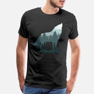 Wolf Silhouette Lone Wolf Survives The Mountain Silhouette Art - Men's Premium T-Shirt