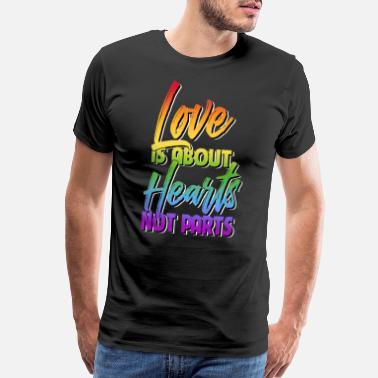 Pansexual Love is about Hearts Not Parts LGBT Pride Equality - Men's Premium T-Shirt