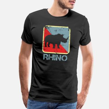 Rhino Rhino Endangered Leather Family - Men's Premium T-Shirt