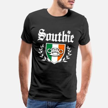 Knuckle Southie Brass Knuckle Irish Flag Crest - Men's Premium T-Shirt
