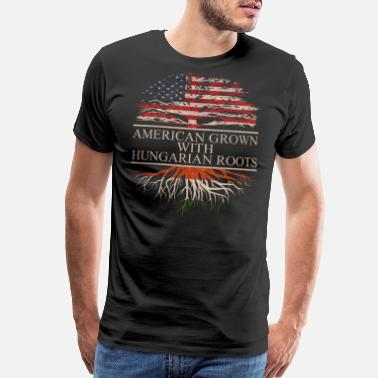 Hungarian American grown with hungarian roots, wooden - Men's Premium T-Shirt