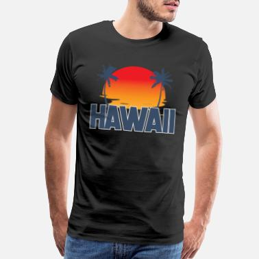 Hula Hawaii State | USA America Palm Trees Hula Surfing - Men's Premium T-Shirt