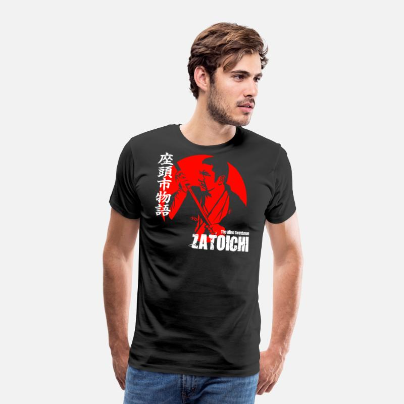 Katana T-Shirts - ZATOICHI THE BLIND SWORDSMAN - Men's Premium T-Shirt black