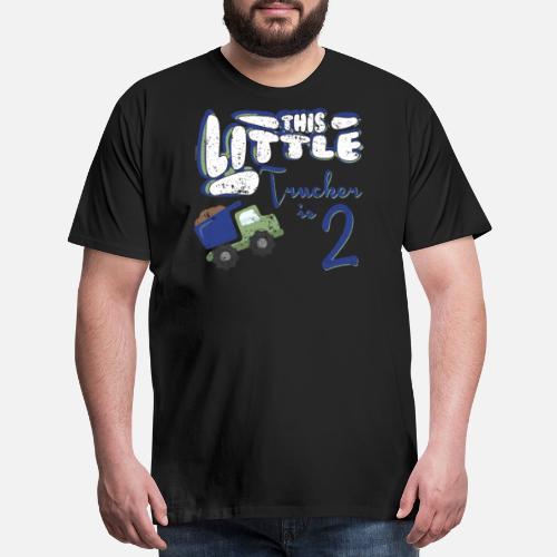 Mens Premium T ShirtLittle Trucker 2nd Birthday Shirt Girl Boy Kids Party