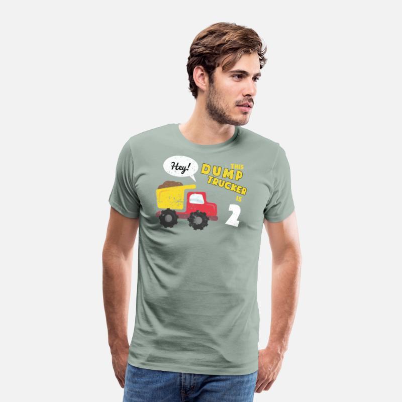2nd Birthday Shirt Party Toddler Kids Dump Truck Construction Mens Premium T