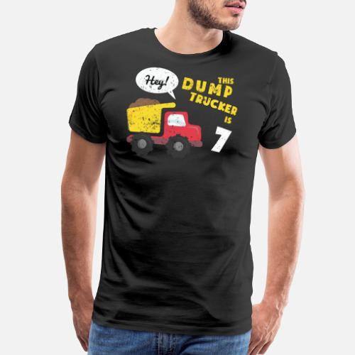 Mens Premium T Shirt7th Birthday Shirt Party Kids Dump Truck Constuction