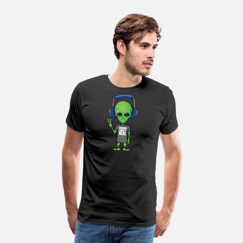 05f1a61b78 Alien Humans aren't real Funny Outer Space Men's Premium T-Shirt ...