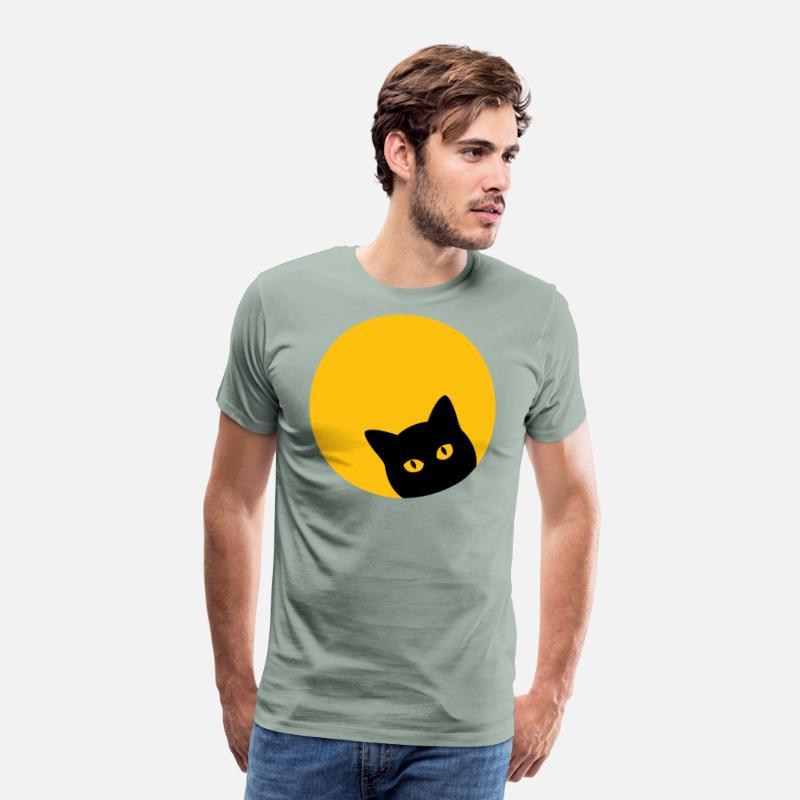 425613522c380 Solar Eclipse Black Cat Yellow Eye Full Moon shirt Men's Premium T-Shirt -  steel green