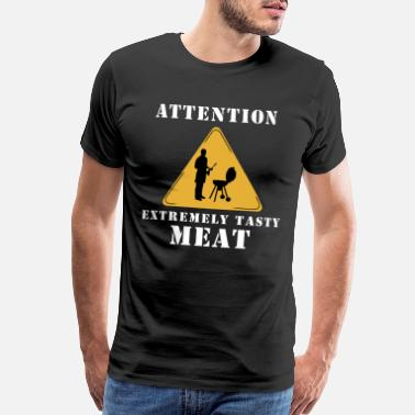 Smoking Bear Attention extremely tasty meat - Men's Premium T-Shirt
