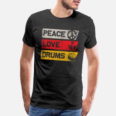 Cool Drum Peace Love Drum - Men's Premium T-Shirt