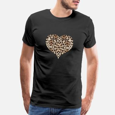 Leopard Cheetah Pattern Heart Leopard Fur Heart Shape Anim - Men's Premium T-Shirt
