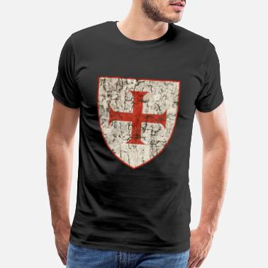 Knights Templar Cross, Old - Men's Premium T-Shirt