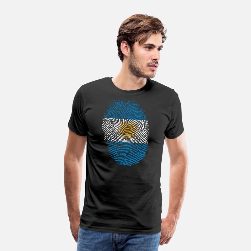 Soccer T-Shirts - Argentina fingerprint flag - Men's Premium T-Shirt black