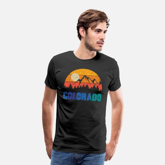 Colorado T-Shirts - Retro Vintage Colorado With Mountain And Forest - Men's Premium T-Shirt black
