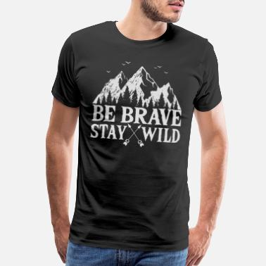 Horse Logo Be Brave Stay Wild Outdoors - Men's Premium T-Shirt