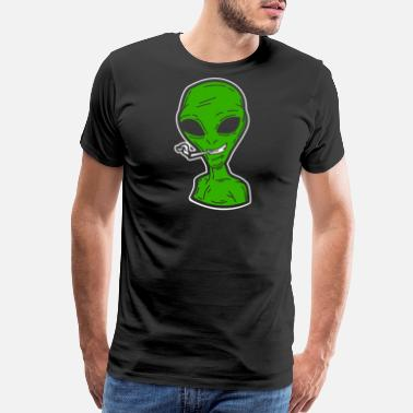 Intelligent Kids Funny Cute green Alien Men Women Science Gift - Men's Premium T-Shirt