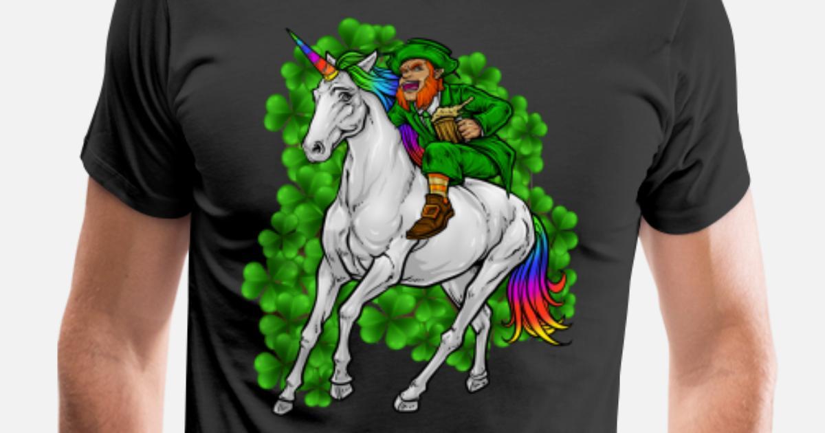 90abc420 Men's Premium T-ShirtLeprechaun Rides Unicorn | Happy St. Patrick's Day
