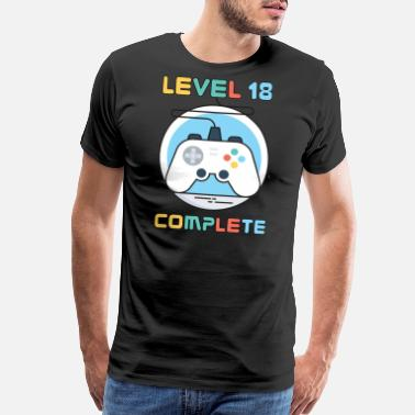 Game Addiction Gamer Geek Level 18 Complete Game Controller - Men's Premium T-Shirt