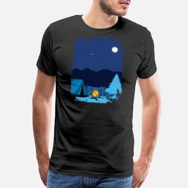 Camping Retirement Camping Tent in Moonlight with Campfire - Men's Premium T-Shirt