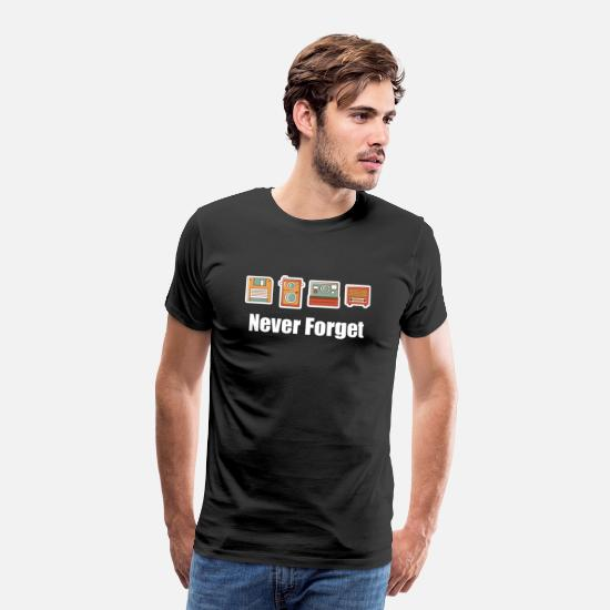 Never T-Shirts - Never Forget Floppy Disk, Camera & Radio - Men's Premium T-Shirt black