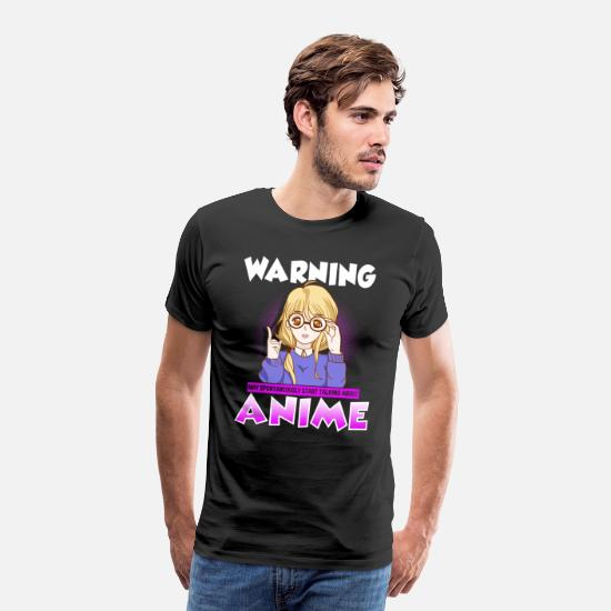 Japan T-Shirts - Warning: May Spontaneously Start Talking Anime - Men's Premium T-Shirt black