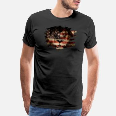 Lion Picture USA Flag African & Lion Picture - Men's Premium T-Shirt