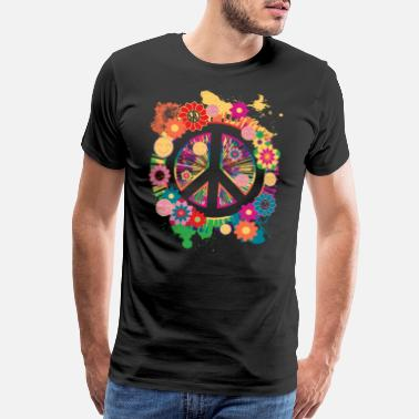 70s Symbols Womens Ladies Peace Sign T-Shirt Gift - Men's Premium T-Shirt