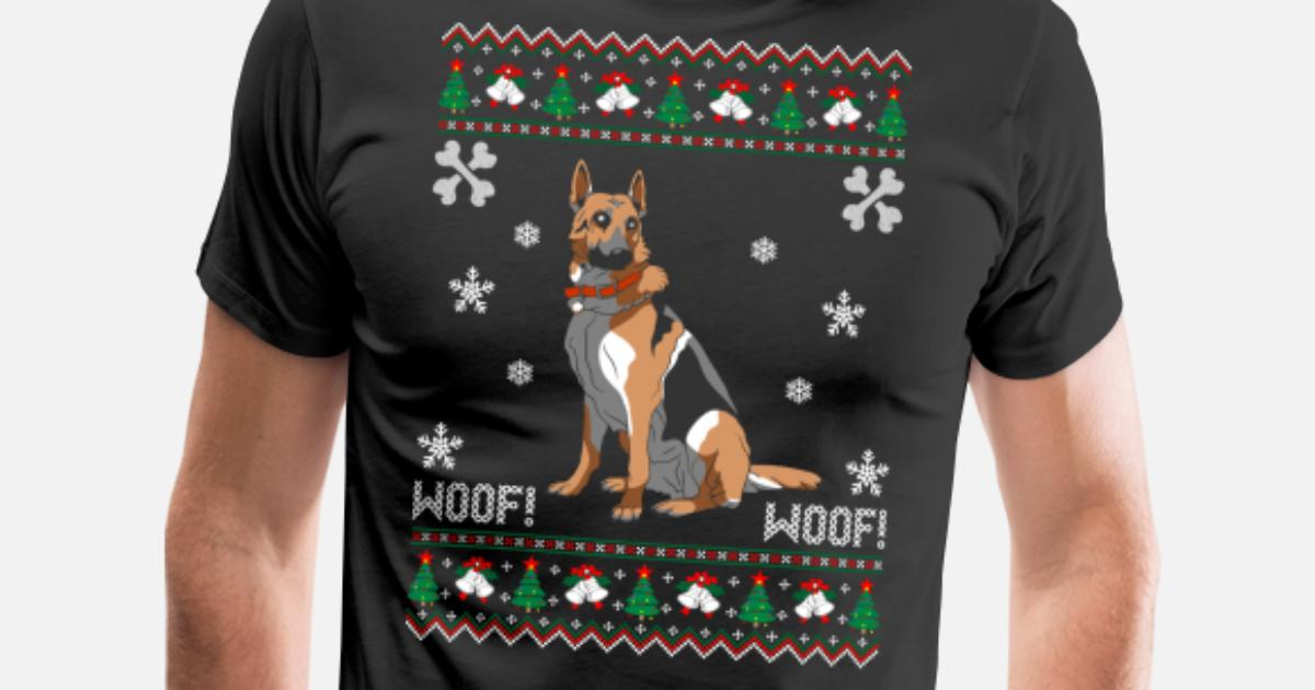 German Shepherd Christmas Sweater.German Shepherd Ugly Christmas Sweater Men S Premium T Shirt Spreadshirt