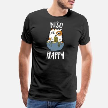 Christmas Cat Graphics Miso Happy TShirt Japanese Cat Lover Pun Gift Tee - Men's Premium T-Shirt