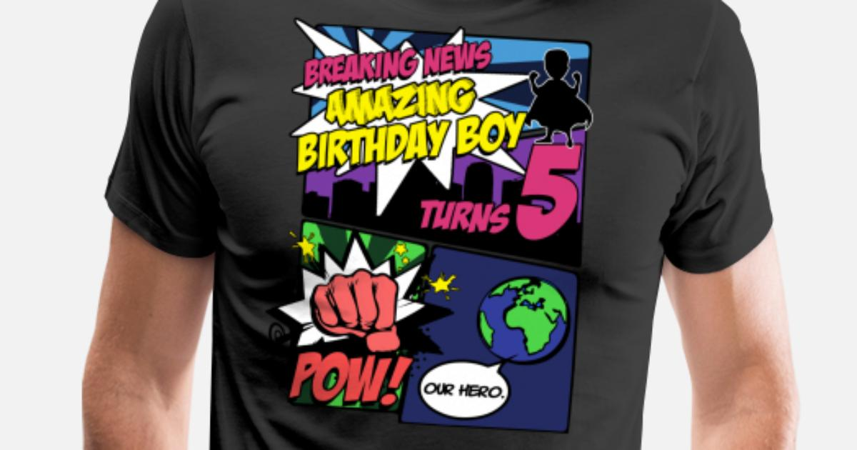 Superhero Birthday Boy TShirt Turns 5 Amazing Mens Premium T Shirt