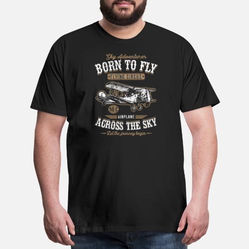 62978188 Vintage Retro Born To Fly Airplane Tshirt Men's Premium T-Shirt ...