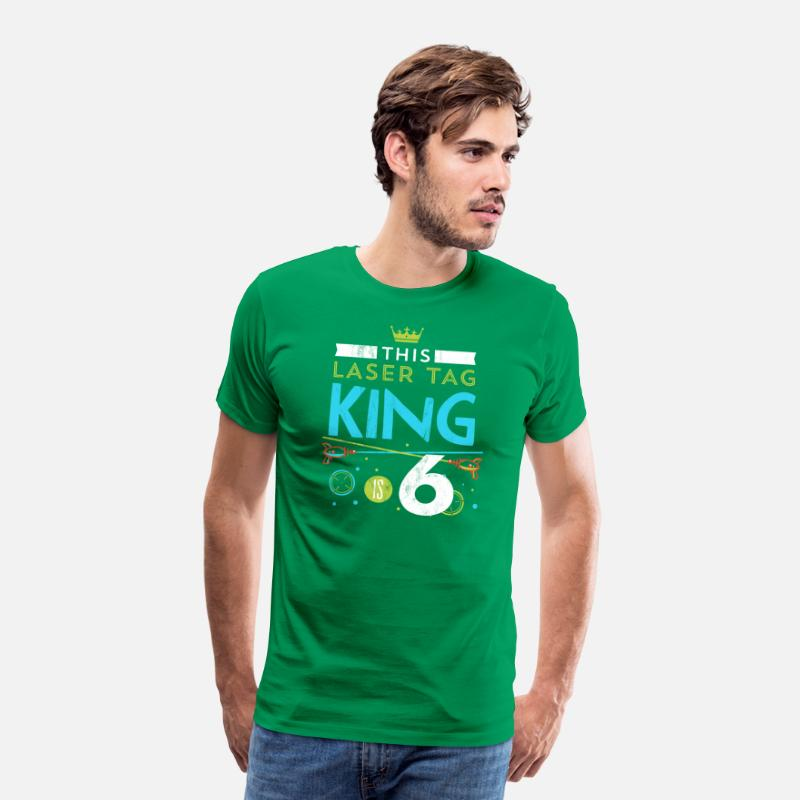 228d8b958e6a 6 Year Old Laser Tag King Birthday Party 6th Men's Premium T-Shirt - kelly  green