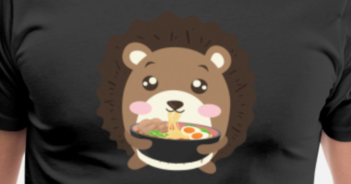 fbd5a3e1d Men's Premium T-ShirtHedgehog Eating Ramen Noodle Soup Cute Tee Shirt