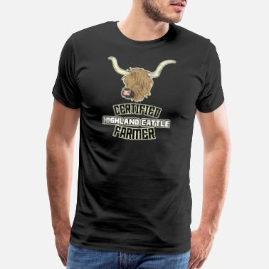 Funny Mom Scottish Highland Cow Certified Farmer Cool Farm T - Men's Premium T-Shirt
