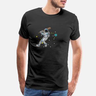 Baseball Nerd Astronaut playing Baseball in Outer Space Gift - Men's Premium T-Shirt